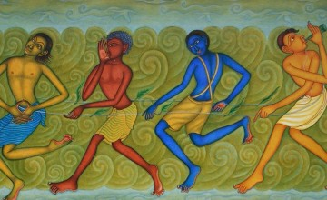 Muthukulam - Art On Canvas & Rice Paper