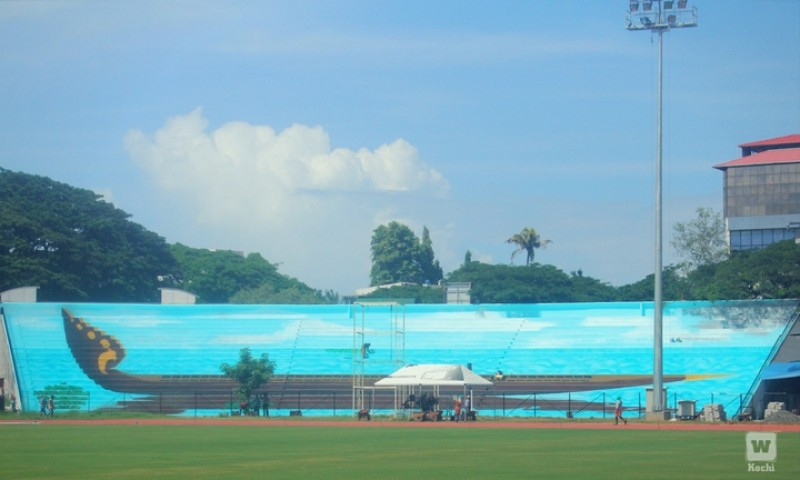 The 'Chundan Vallam' is all set at Maharajas College Ground and is waiting for the players
