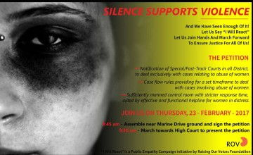 Silence Supports Violence - March for justice and safety
