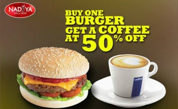 Buy a Burger and get Coffee at 50% off