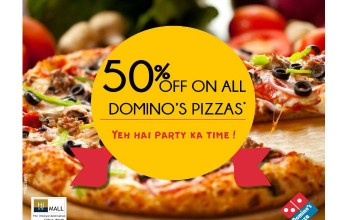 50% Off on All Dominos Pizzas, HiLite Mall