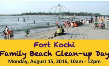Family Beach clean-up day in Fort Kochi