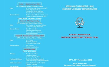 National Workshop on Forensic Science & Criminal Trial